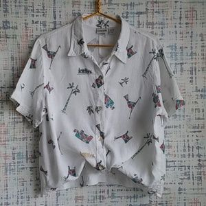 Chico's Printed Linen Button Down S/S Top